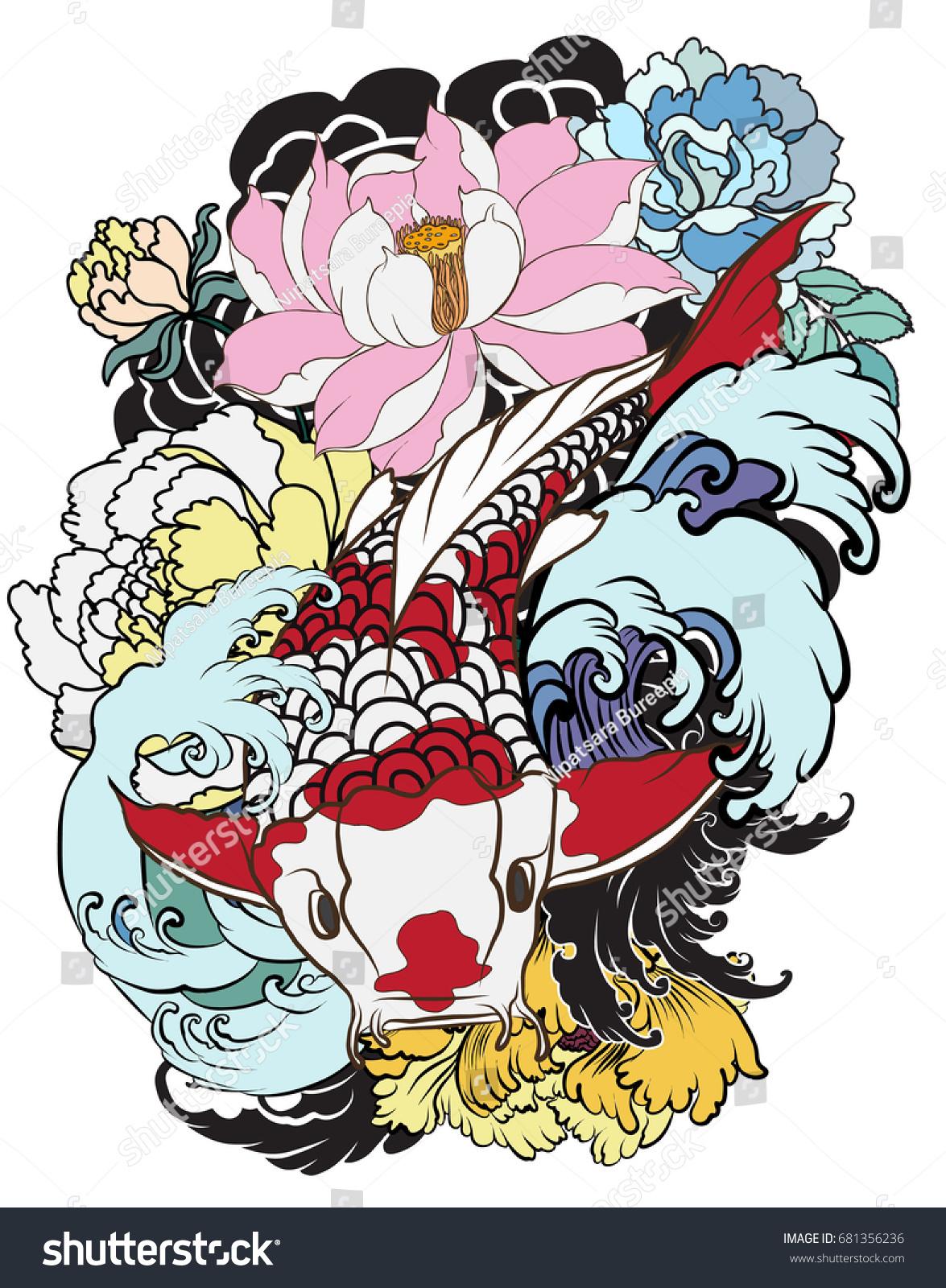 Hand Drawn Koi Fish Flower Tattoo Stock Vector 681356236 - Shutterstock