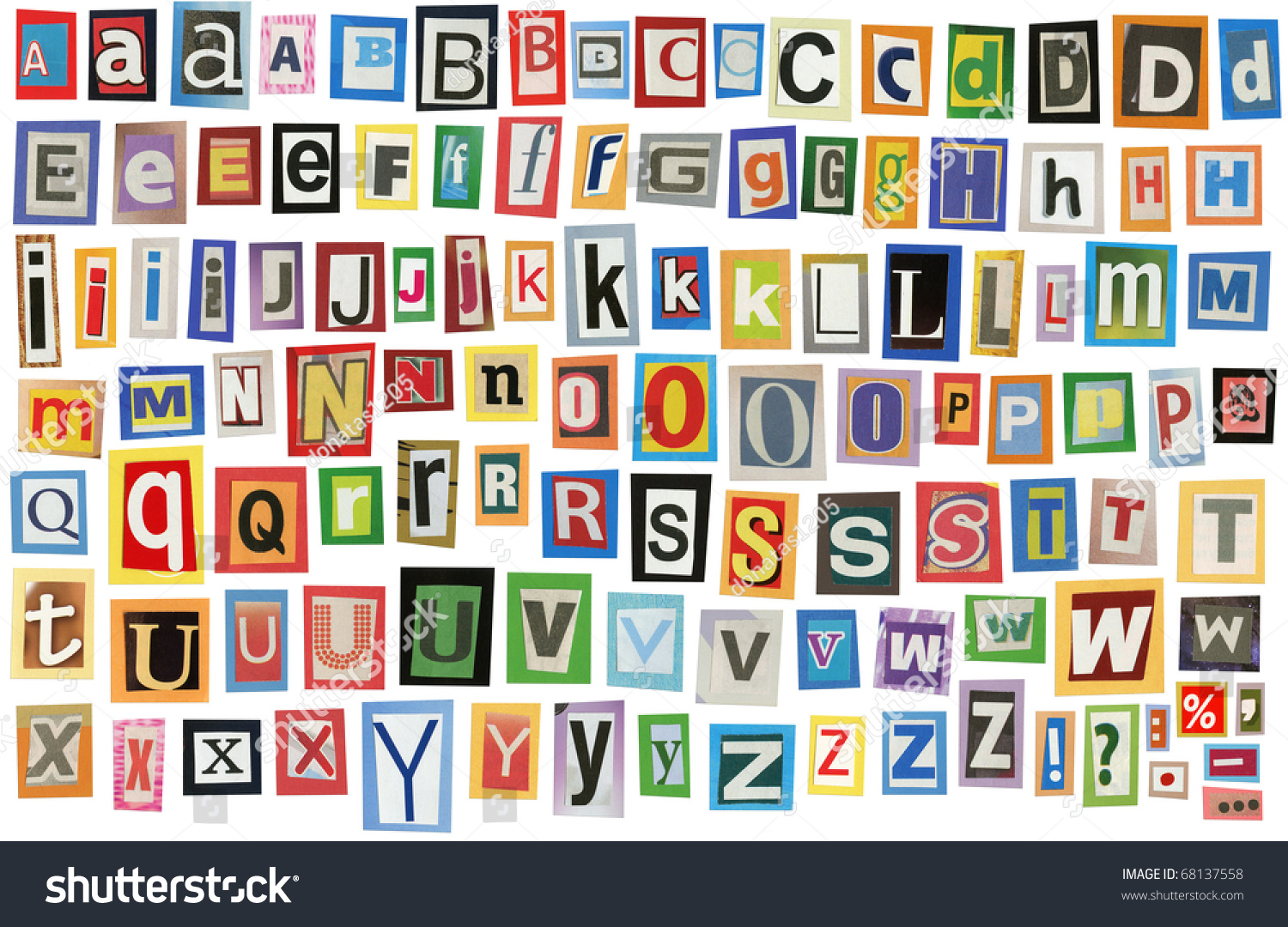 Colorful Alphabet Made Magazine Clippings Letters Stock Photo ...