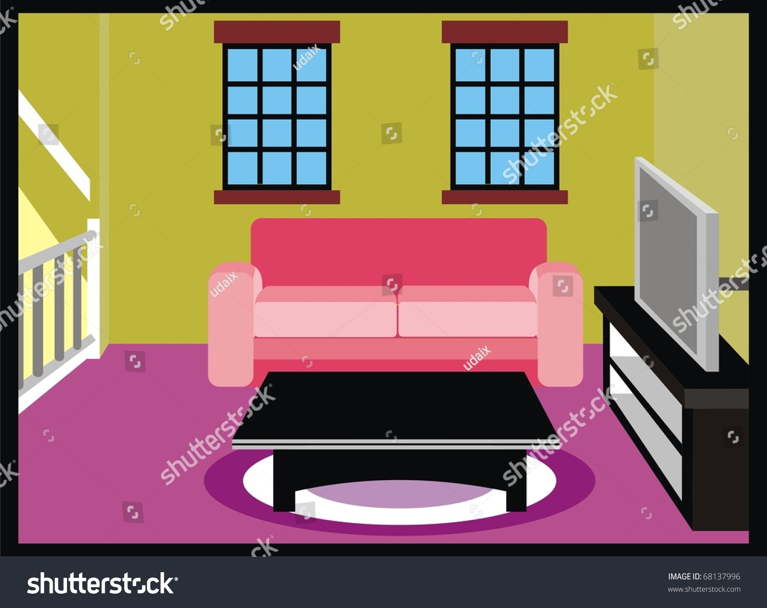 Vector living room furniture tv table stock vector for Room design vector