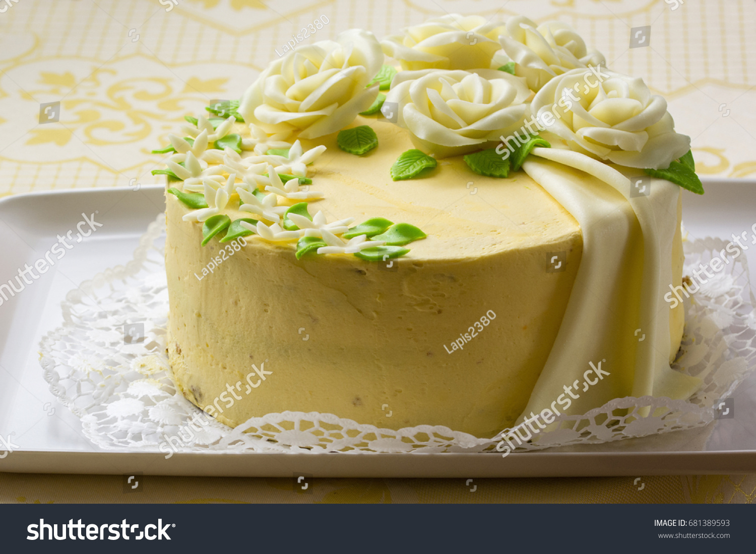 Butter Yellow Cake Marzipan Roses Stock Photo (Edit Now) 681389593 ...