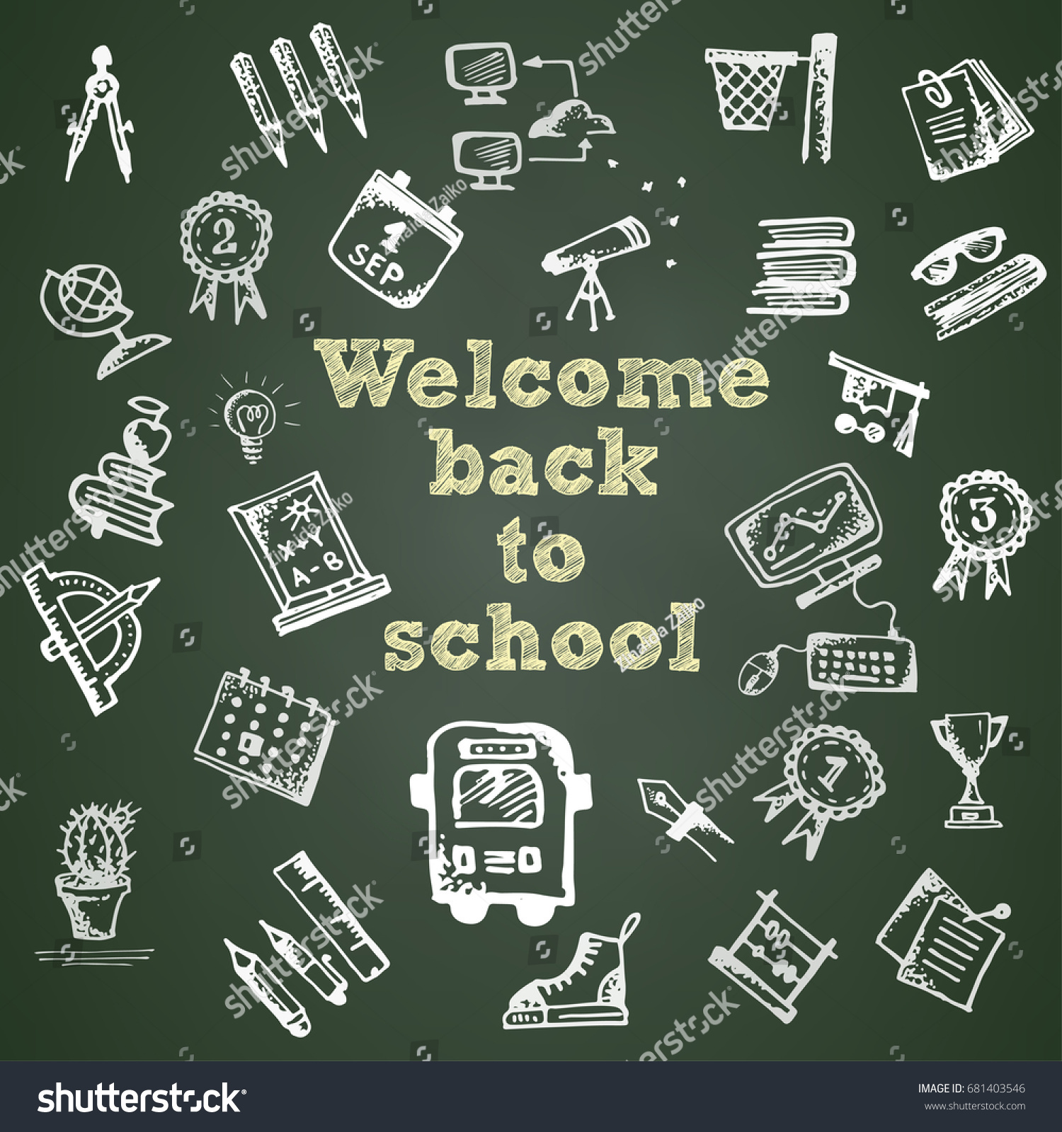 Hand drawn school symbol on green stock vector 681403546 shutterstock hand drawn school symbol on green chalkboard with text welcome back to school vector illustration buycottarizona Gallery