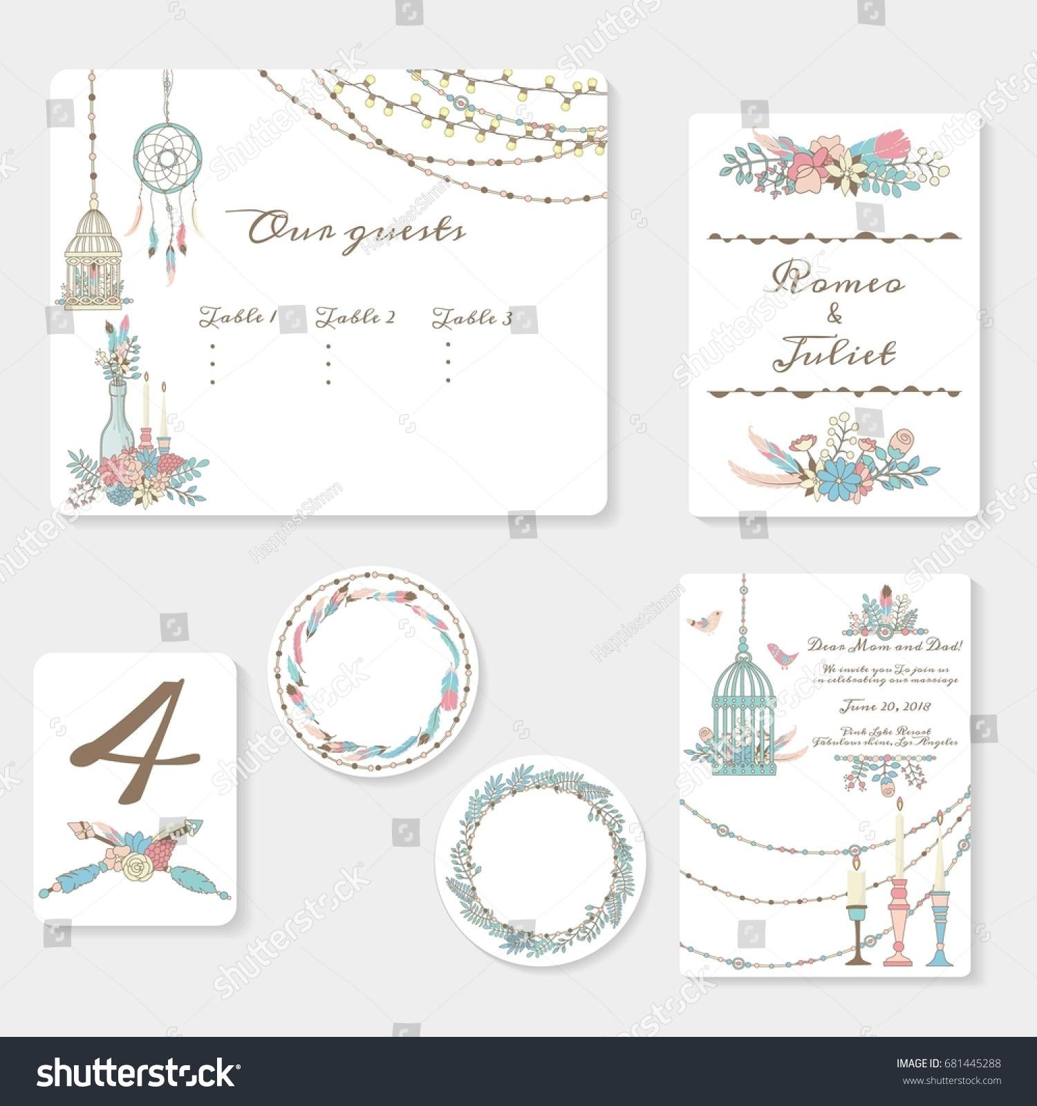Wedding Invitation Cards Suite Tender Garden Stock Vector 681445288 ...