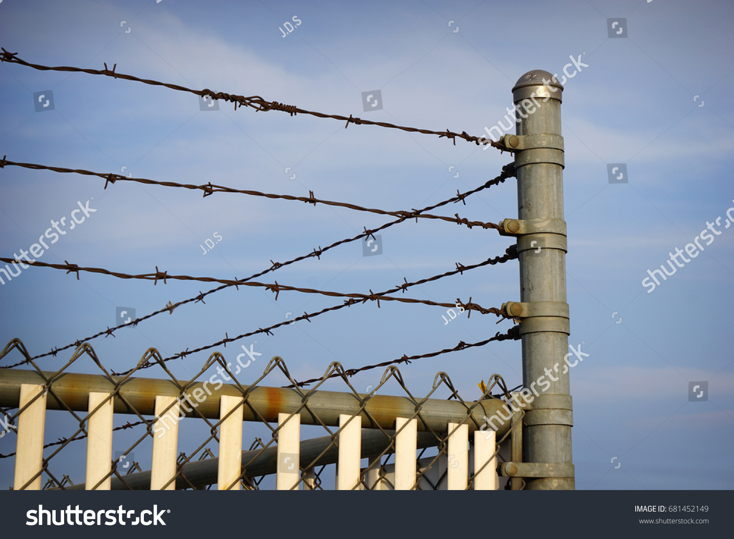 Barbed Wire Fence Security Stock Photo 681452149 - Shutterstock