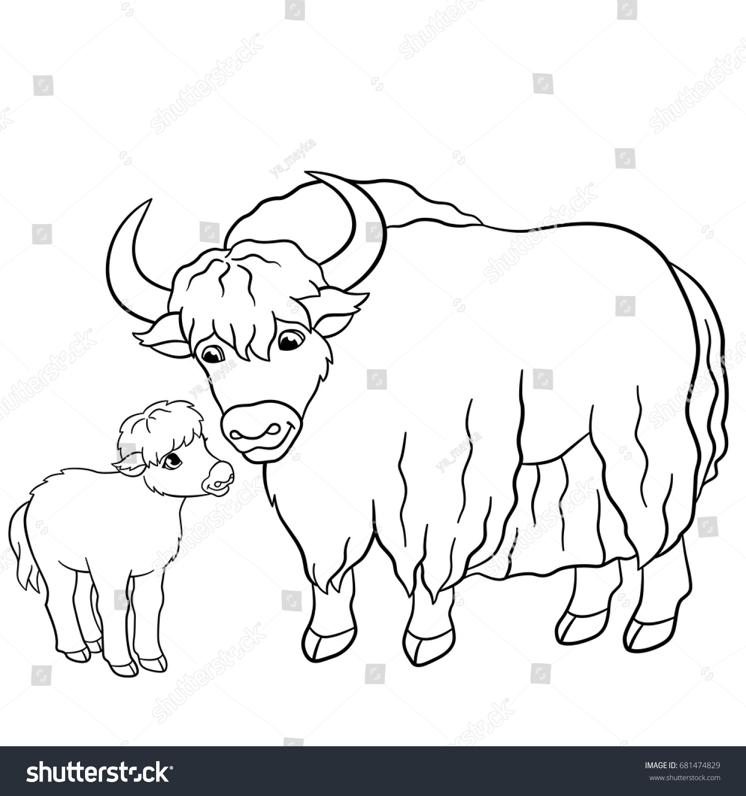 Coloring pages beautiful yak with little cute baby yak