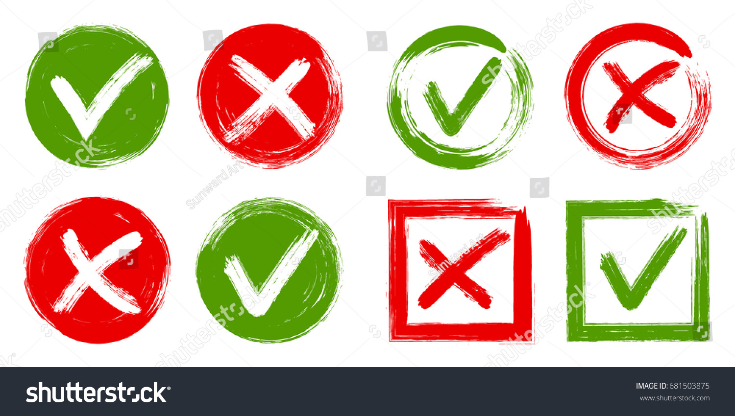 Tick Cross Test Signs Check Marks Stock Vector Royalty Free