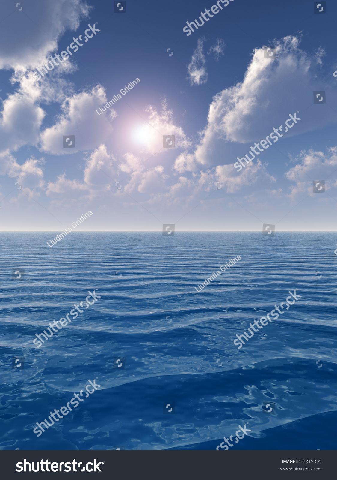 Beautiful Sea Clouds Sky Digital Artwork Stock