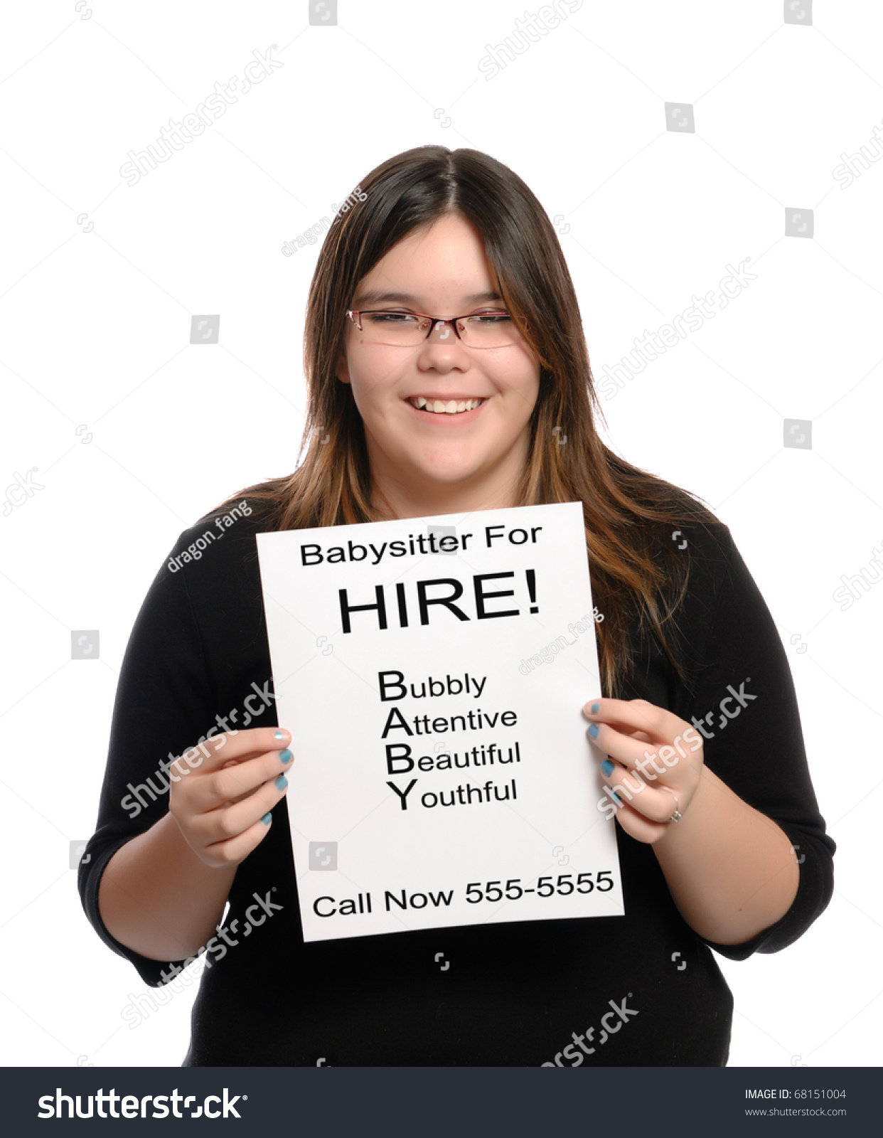 a babysitter holding a paper flyer advertising her skills as a save to a lightbox