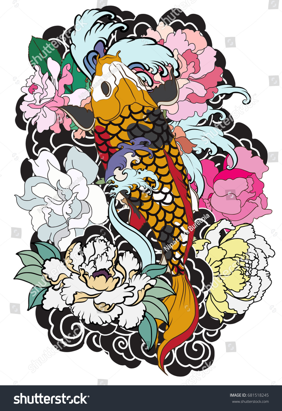 Hand Drawn Koi Fish Flower Tattoo Stock Vector Royalty Free
