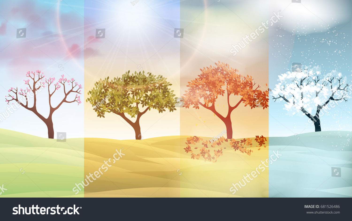 four seasons banners abstract trees hills のベクター画像素材