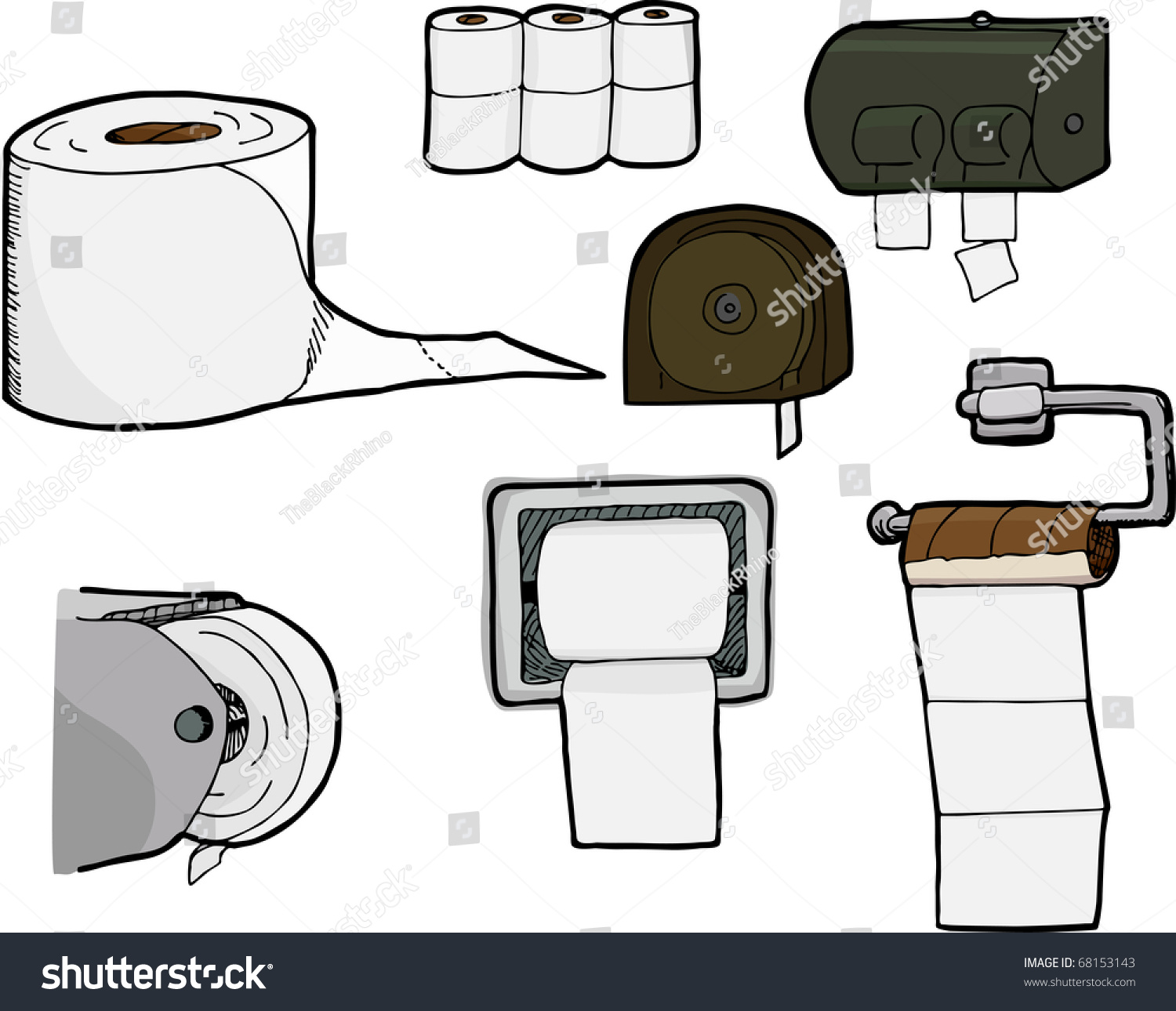 Set 7 Isolated Handdrawn Rolls Bathroom Stock Vector