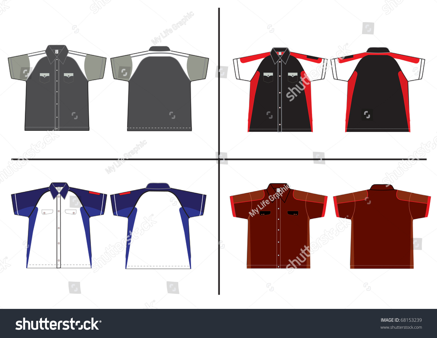 Shirt design illustrator template - T Shirt Design Vector Template Front And Back View