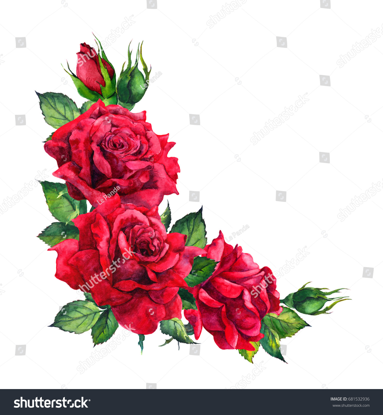 Bien connu Red Roses Corner Floral Composition Watercolor Stock Illustration  BP45