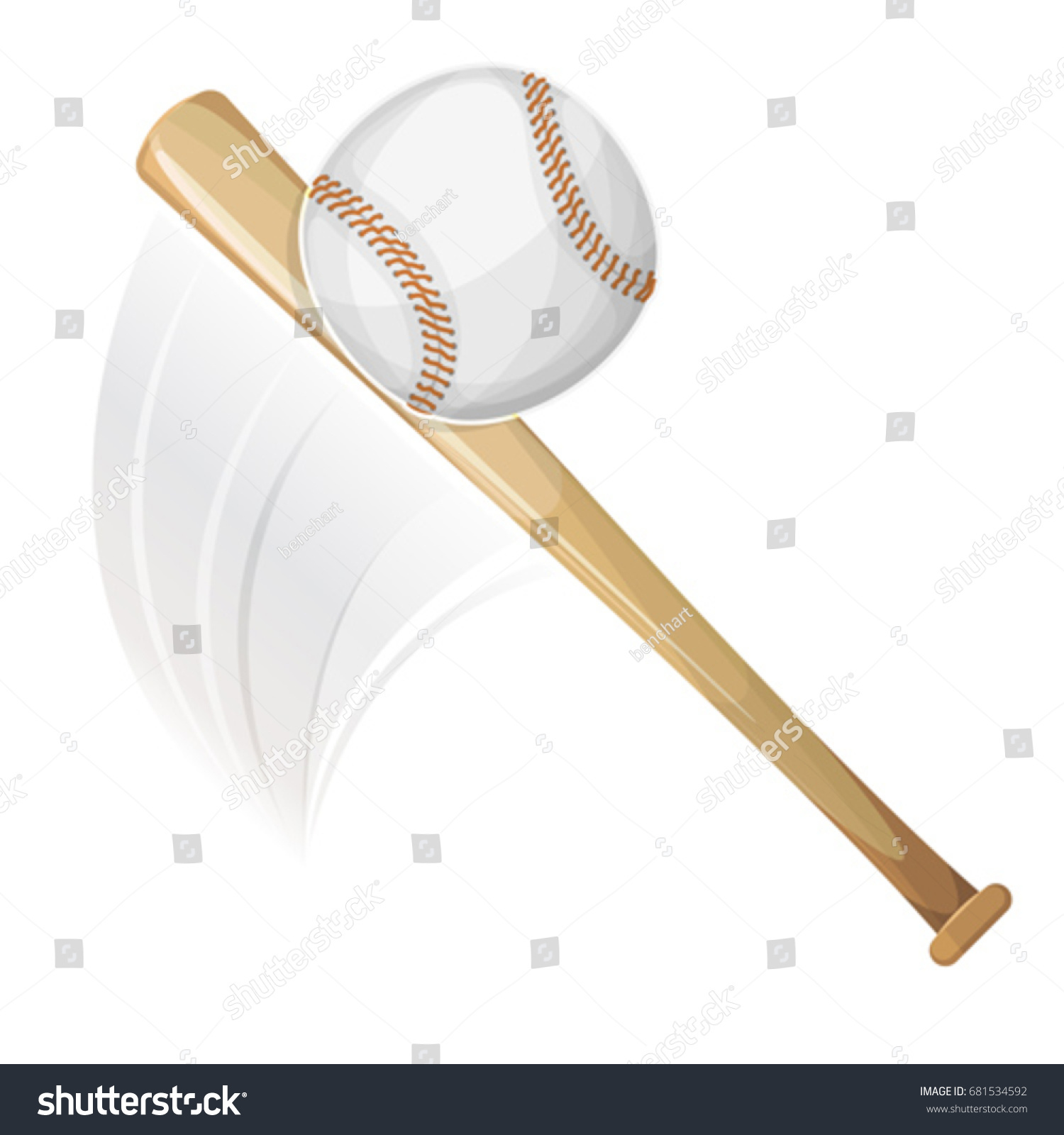 baseball bat hitting ball illustration american baseball stock