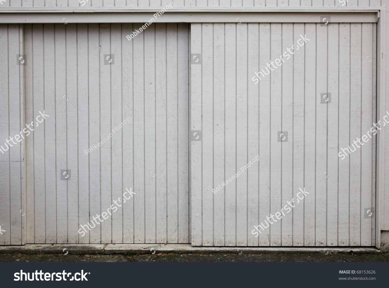 Old Style Sliding Beige Painted Wood Stock Photo 68153626