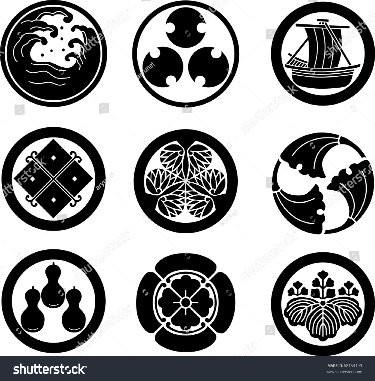 Japanese Family Crests Vector Stock Vector Royalty Free 68154199