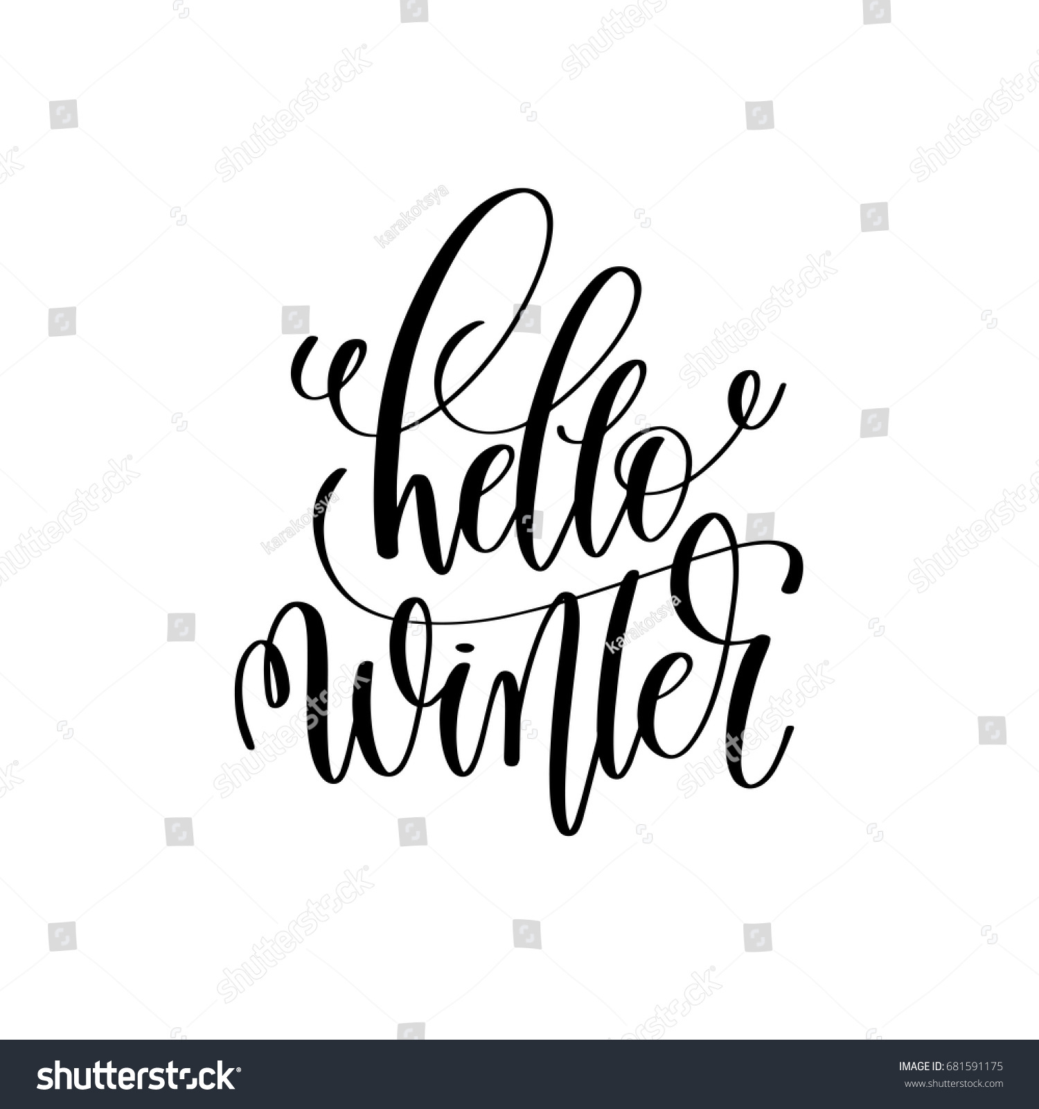 Hello winter hand lettering inscription stock