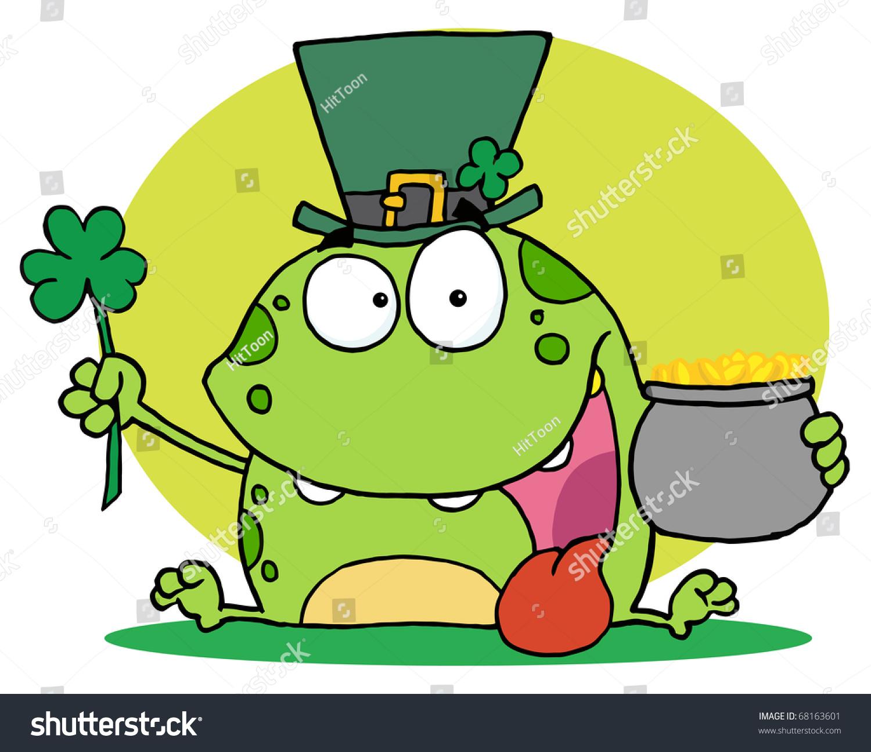 green leprechaun frog wearing hat holding stock illustration