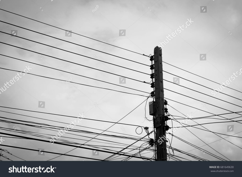 Power Poles Wires Black White Concept Stock Photo (Royalty Free ...