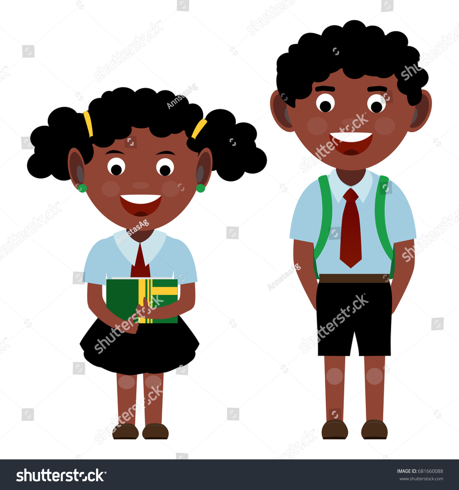get dressed for school clipart. group of black curly smiling cheerful school children girl with a book in her hands get dressed for clipart