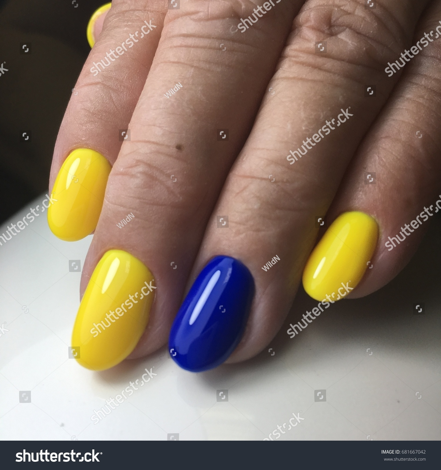 Attractive Yellow And Blue Nails Gallery - Nail Art Design Ideas ...