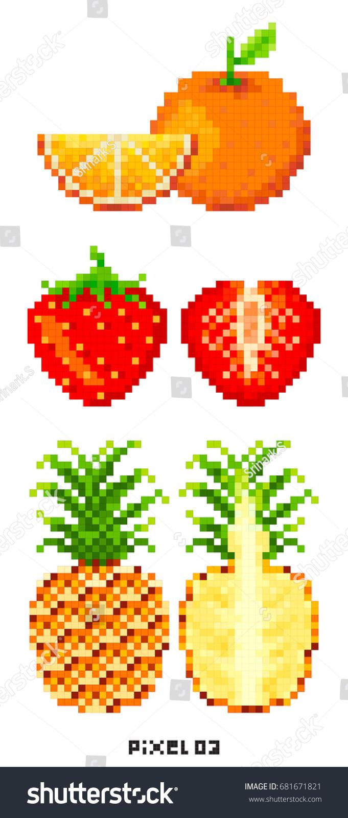 Pixel Art Fruit Slice Vector Stock Vector Royalty Free 681671821