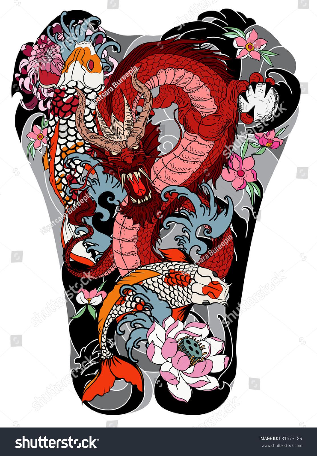 Dragon koi fish peony chrysanthemum rose sakura flower lotus wave dragon and koi fish with peonychrysanthemumrosesakura flowerlotus and izmirmasajfo