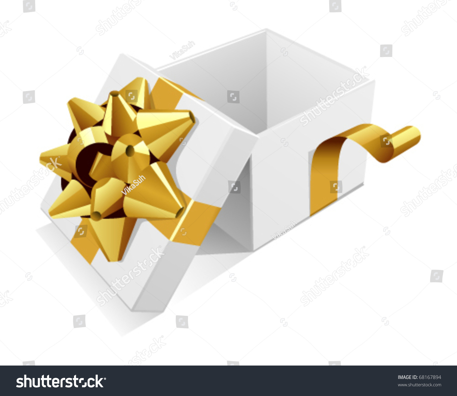 White Open Wedding Or Birthday Gift Present Box With Gold
