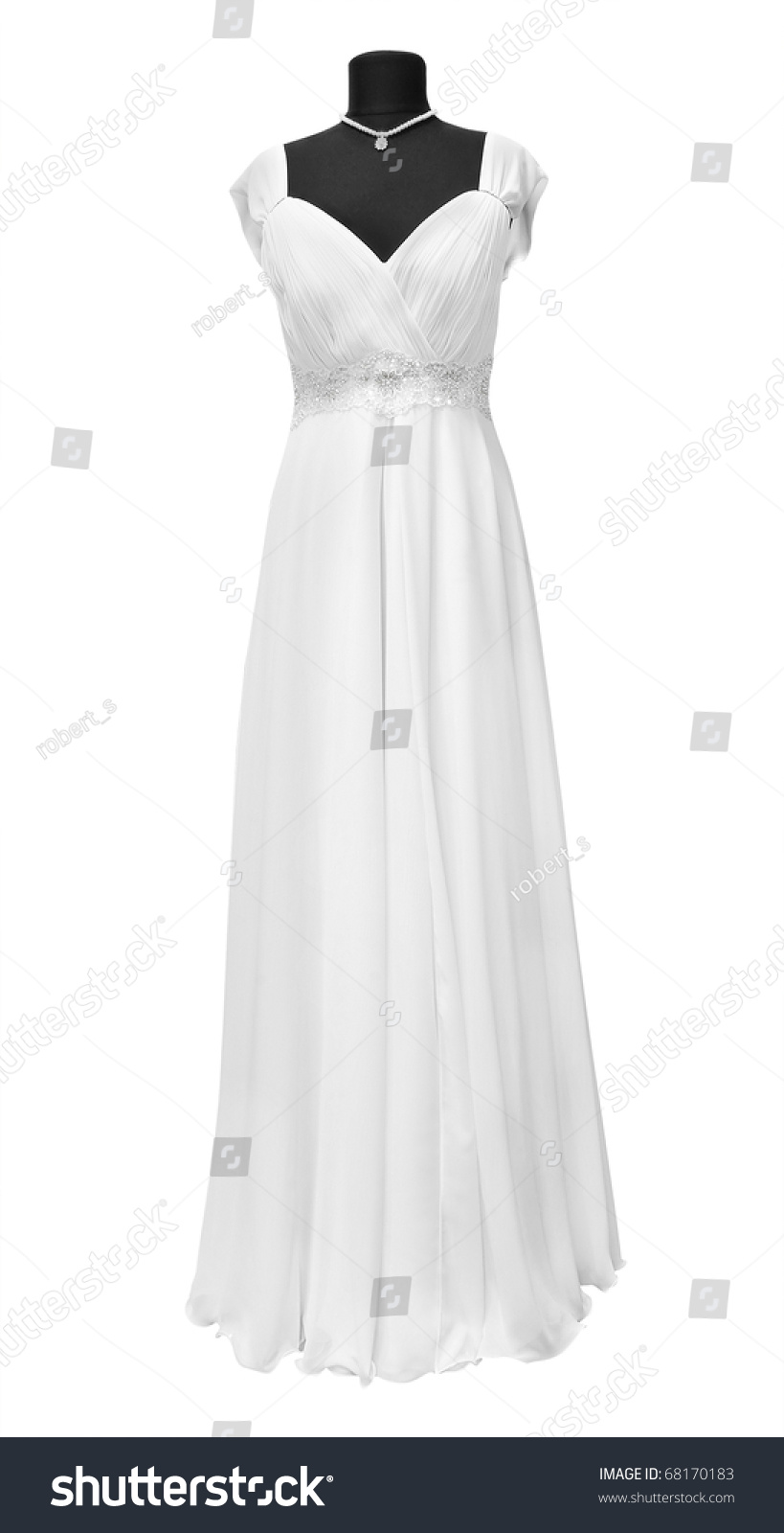 Wedding Dress On A Mannequin On A White Background Stock Photo 68170183 Shutterstock