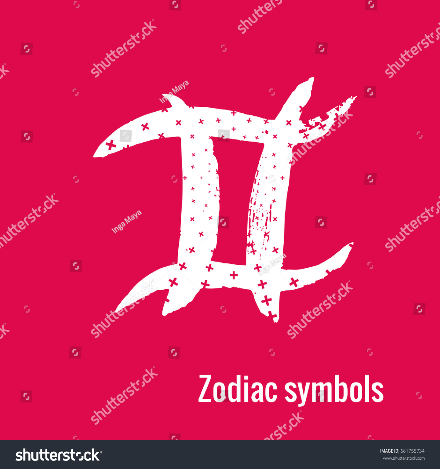 Signs Zodiac Pisces Symbol Calligraphy Fashion Stock Vector Royalty