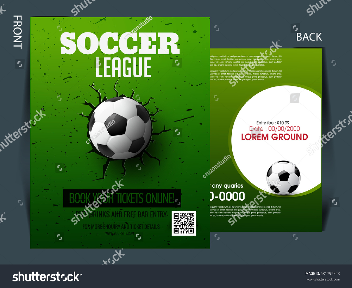 Soccer Event Flyer Template Eps 10 Football Stock Vector Royalty