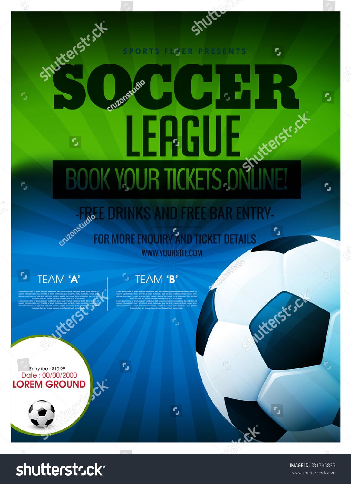 Soccer Event Flyer Template Eps 10 Football Stock Vector Royalty