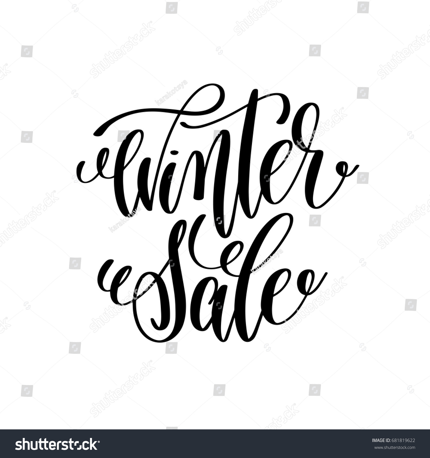 Winter sale hand lettering inscription stock vector