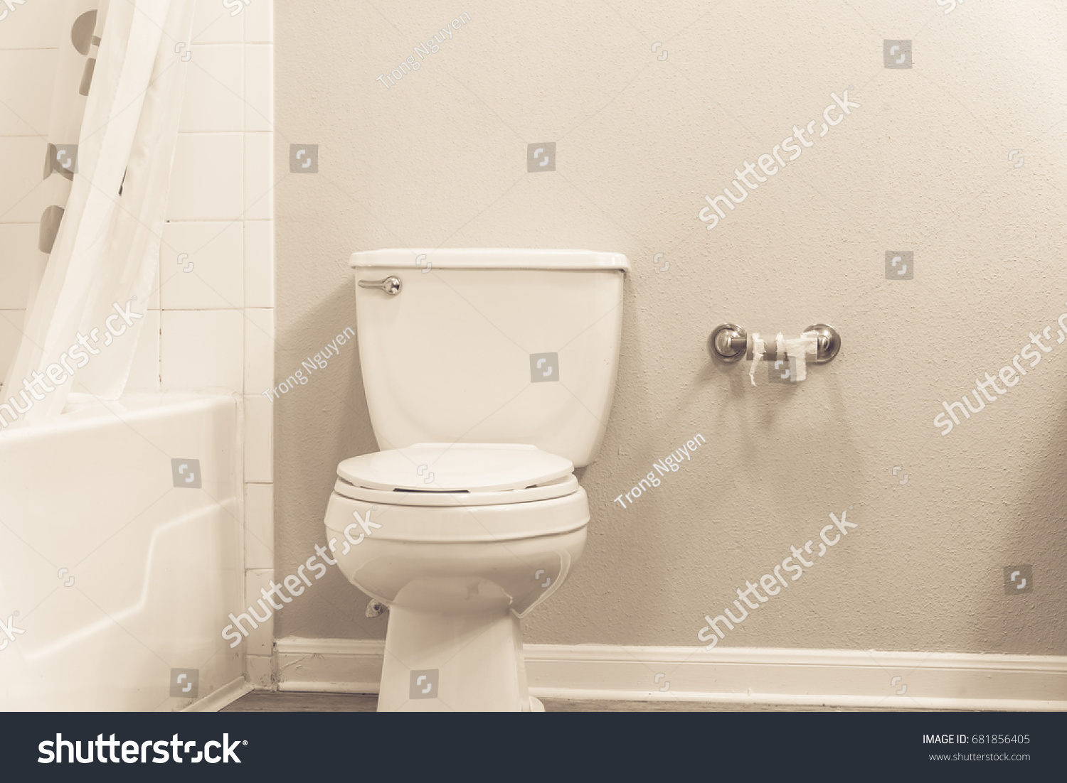 White Flush Toilet Bowl Shower Curtain Stock Photo Edit Now
