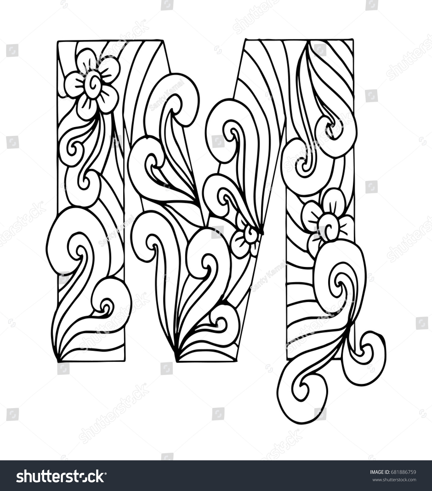 Zentangle Stylized Alphabet Letter M Doodle Stock Vector Royalty