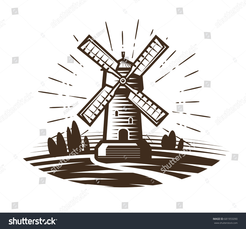 farm windmill drawing. Windmill, Mill Logo Or Label. Farm, Agriculture, Bakery, Bread Icon. Farm Windmill Drawing D