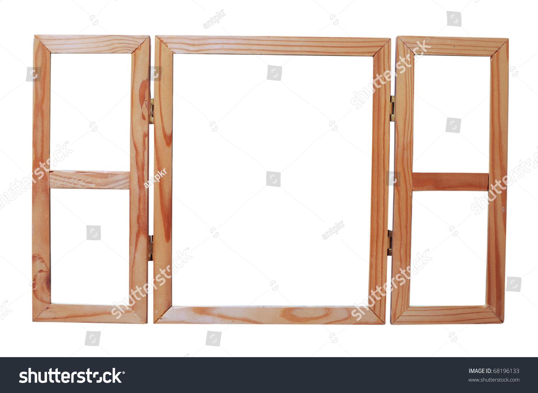 Old grunge wooden window frame illustration on white background ...