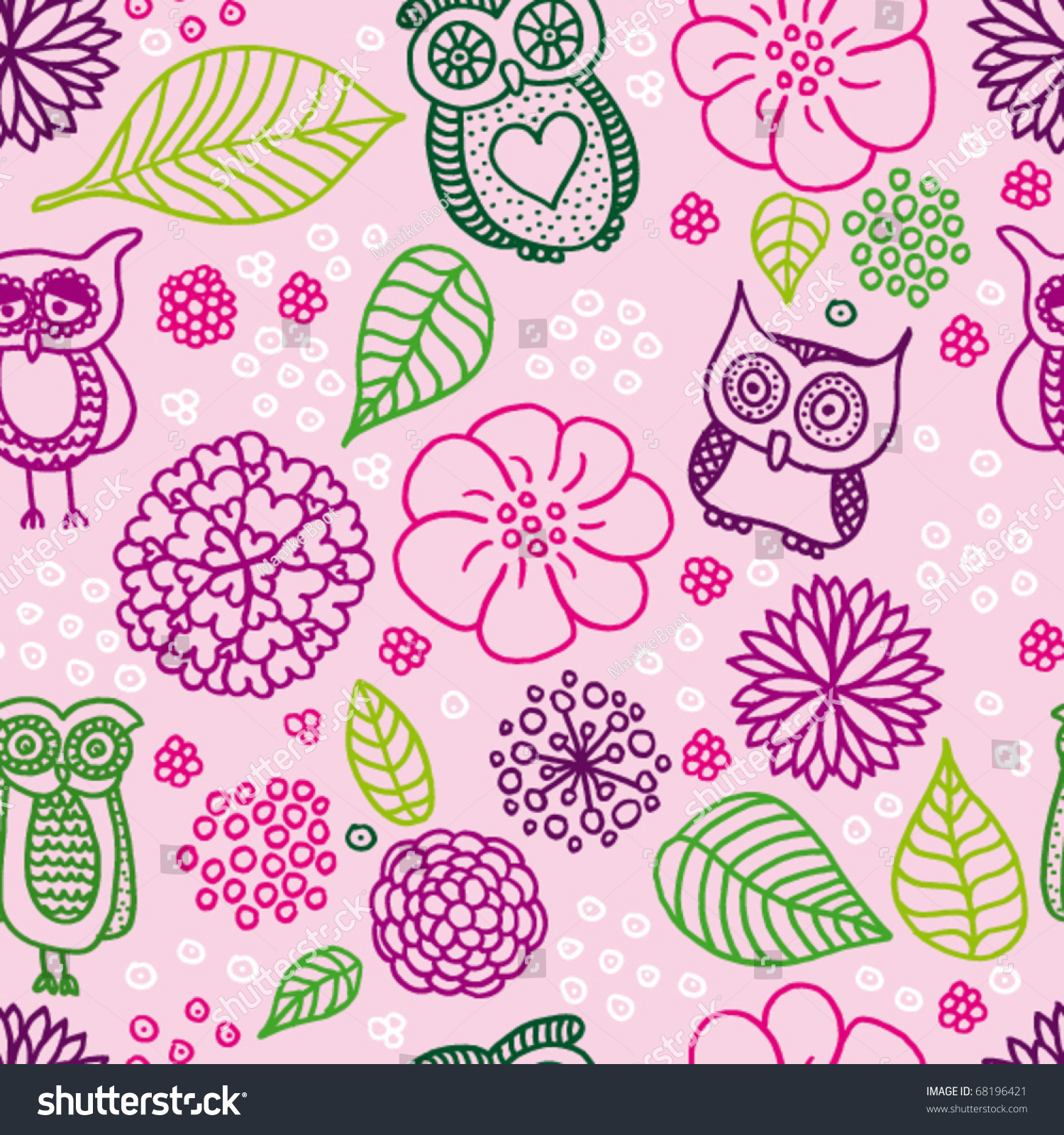 cute pink owl background pattern vector stock vector