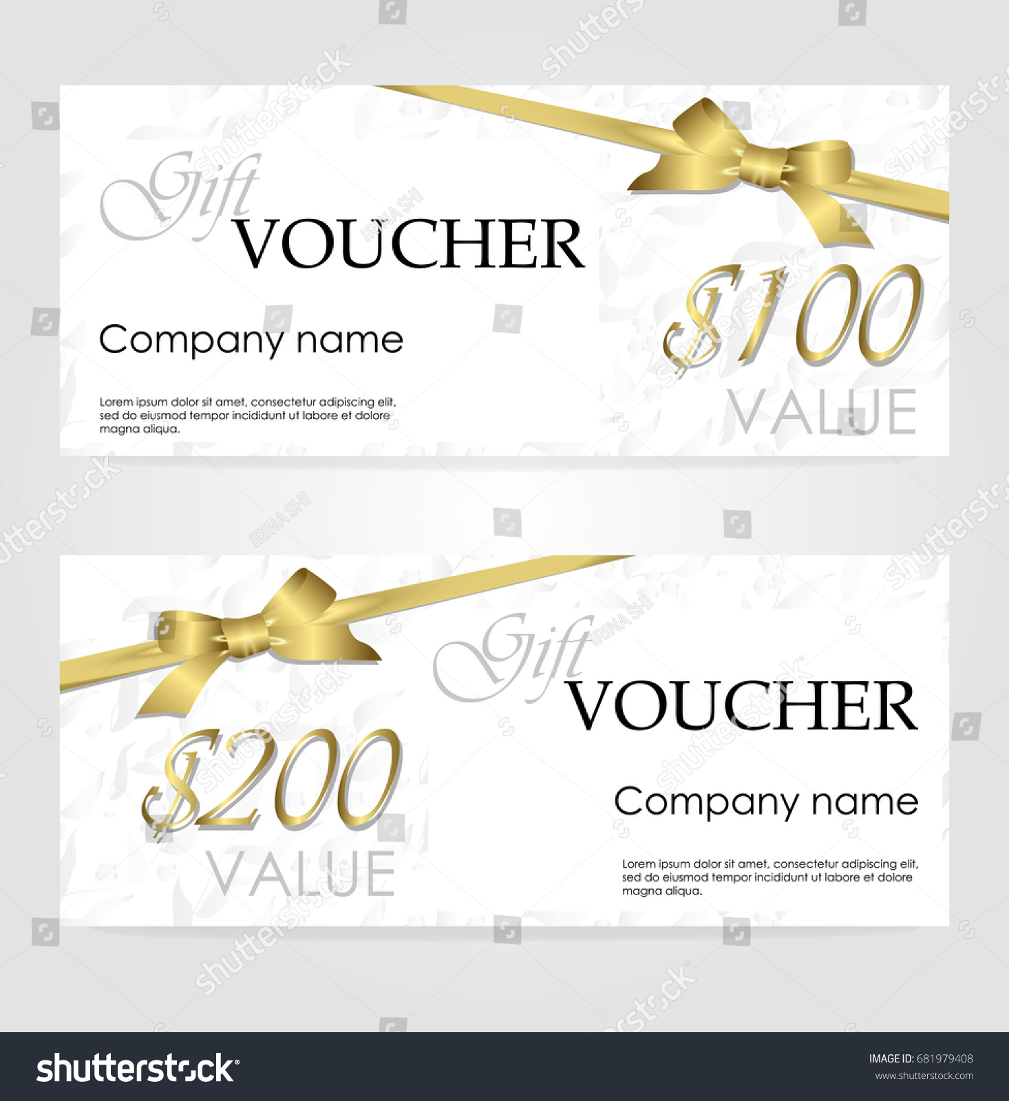 Stylish gift voucher golden ribbon silver stock vector 681979408 stylish gift voucher with golden ribbon and silver floral pattern vector template for gift card xflitez Choice Image
