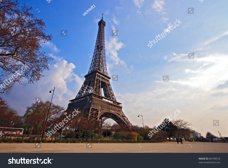Landscape Eiffel Tower Garden Paris France Stock Photo 68198518 ...