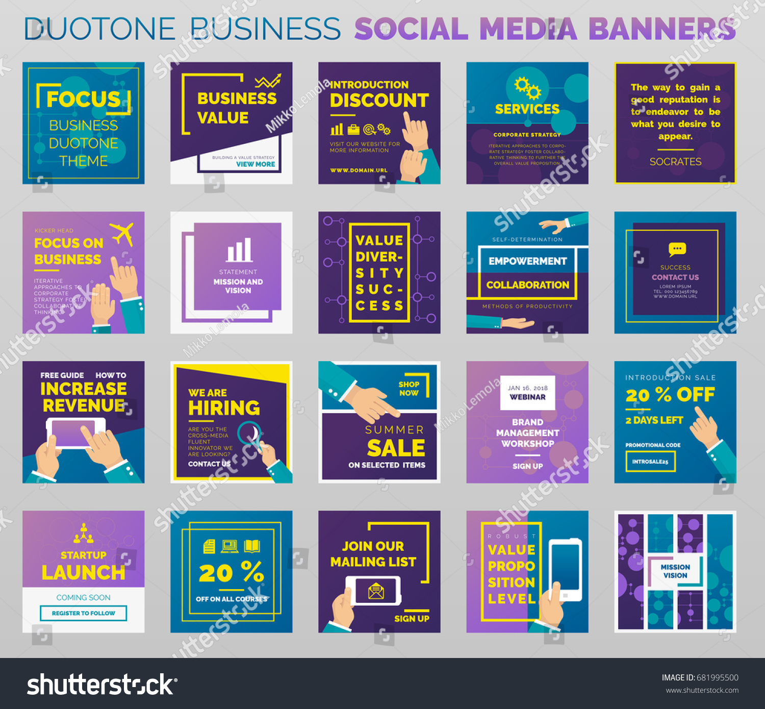 Duotone Styled Social Media Business Banners Stock Vector - Template for social media posts