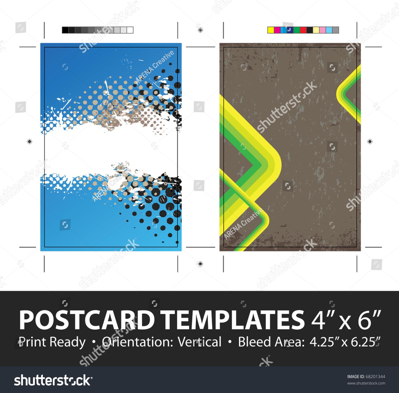 Grunge stripes postcard or direct mailer design template for Copy design