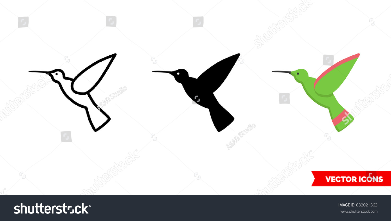 Hummingbird icon 3 types color black stock vector 682021363 hummingbird icon of 3 types color black and white outline isolated vector biocorpaavc Images