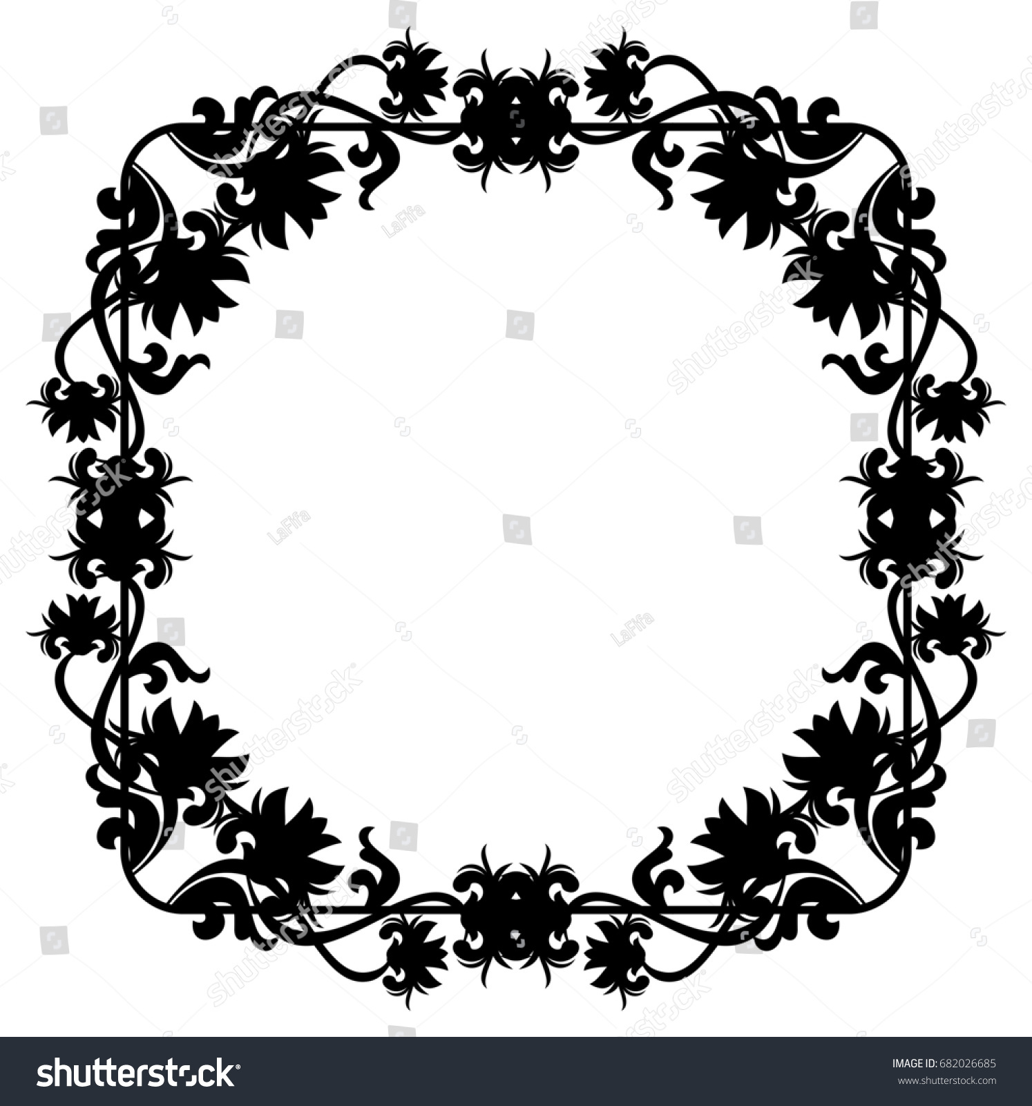 Black And White Silhouette Floral Frame Raster Clip Art Ez Canvas