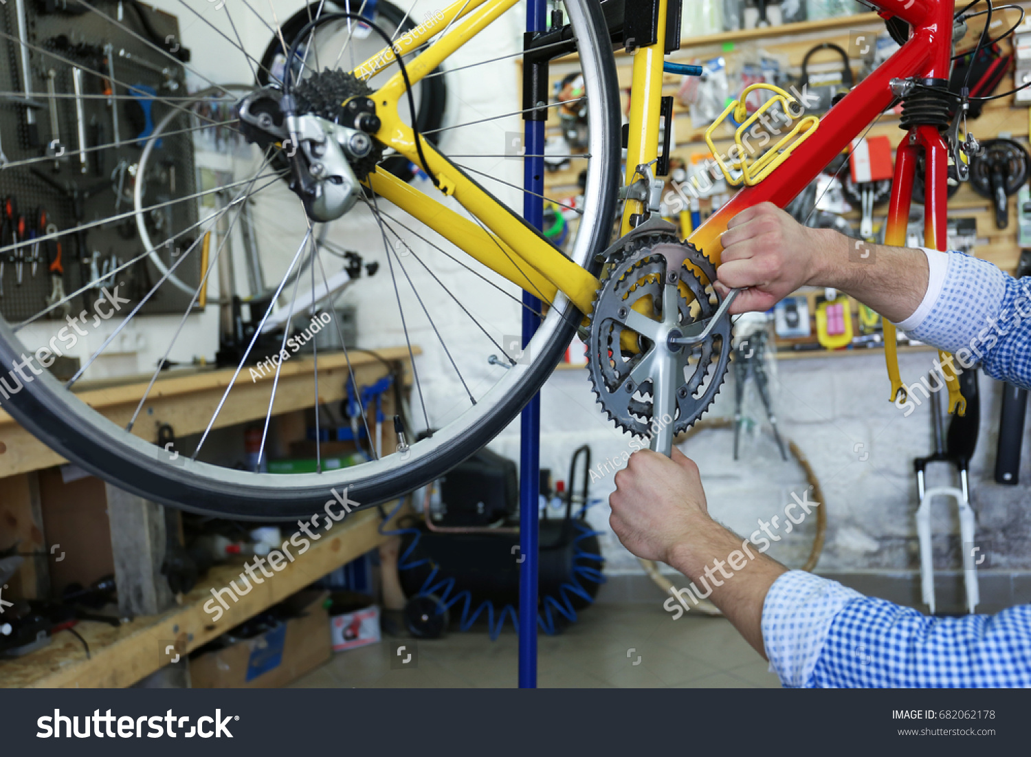 Young Man Working Bicycle Repair Shop Stock Photo (Edit Now