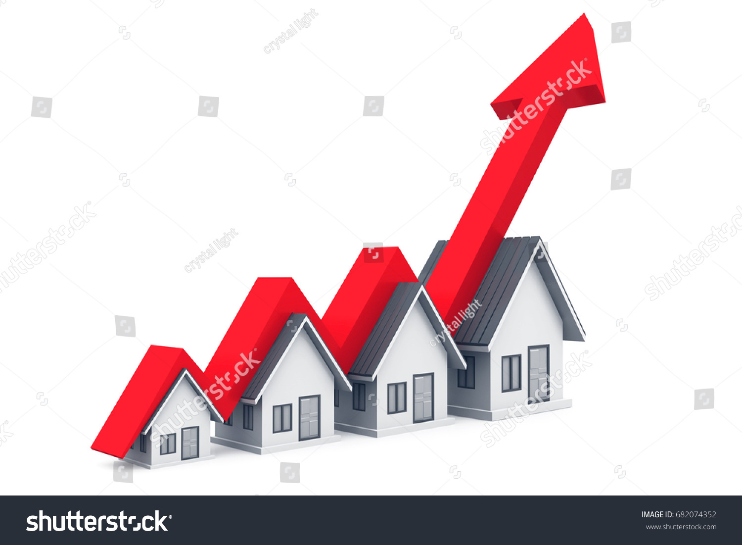 Real Estate Growth Chart 3d Rendering Stock Illustration 682074352