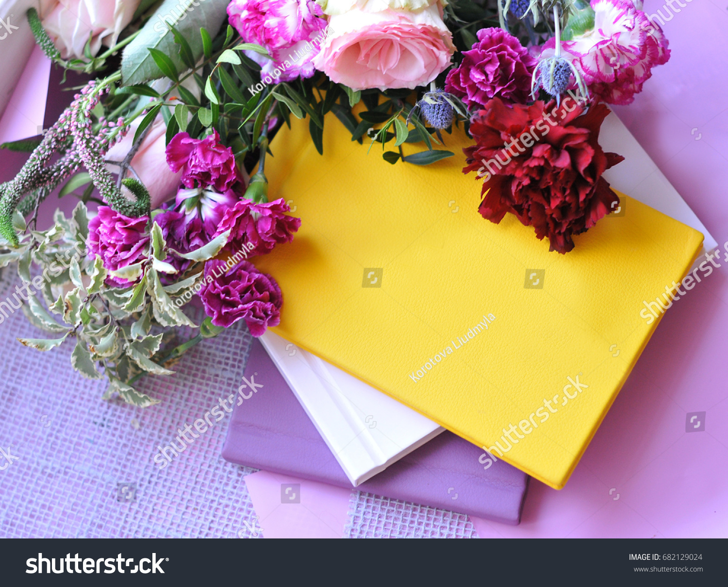 Yellow book entries hidden thoughts young stock photo royalty free yellow book of entries for the hidden thoughts of a young girl on a beautiful floral izmirmasajfo