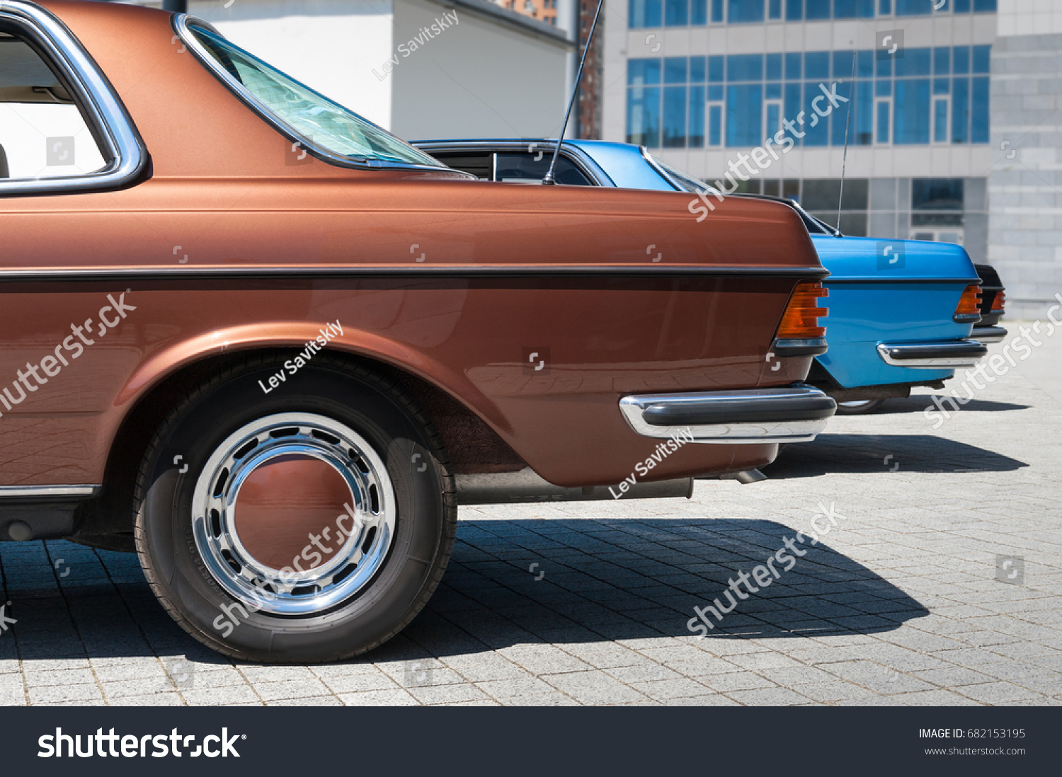 Rear View On Vintage Cars Parked Stock Photo 682153195 - Shutterstock