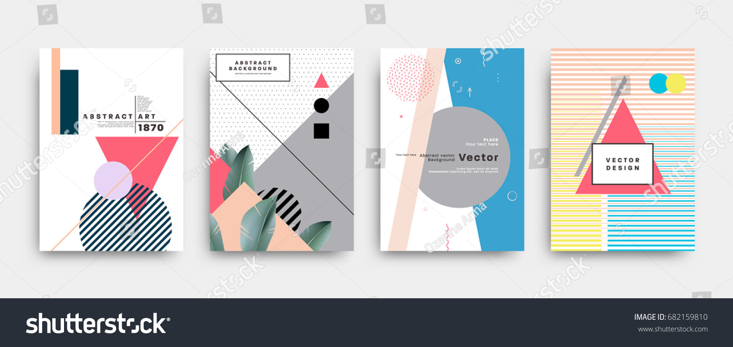 Placards set with abstract shapes with palm leaves, 80s memphis geometric style flat and 3d design elements. Retro art for covers, banners, flyers and posters. Eps10 vector illustrations. #682159810