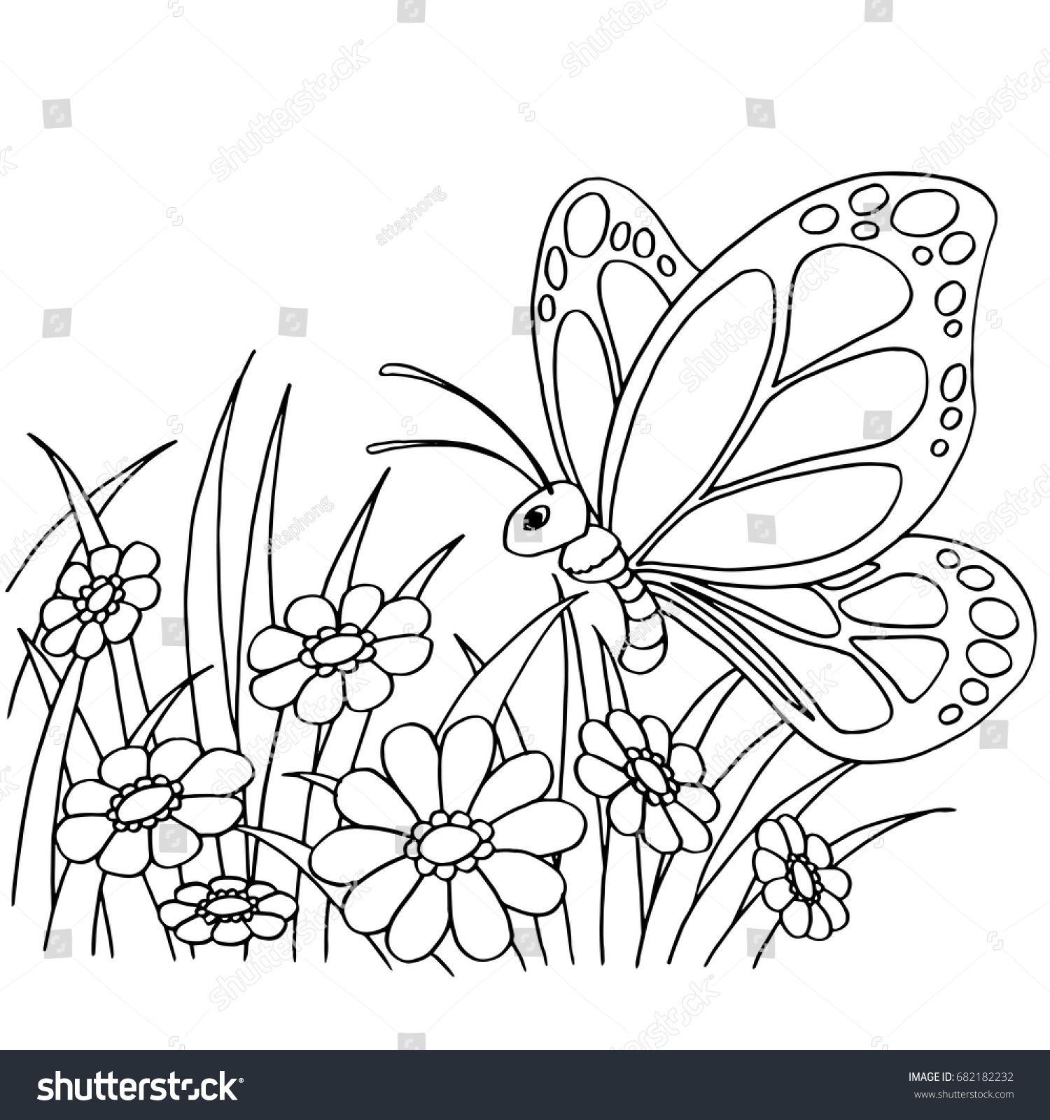 Butterfly Flower Cartoon Coloring Page Vector Stock Vector (Royalty ...