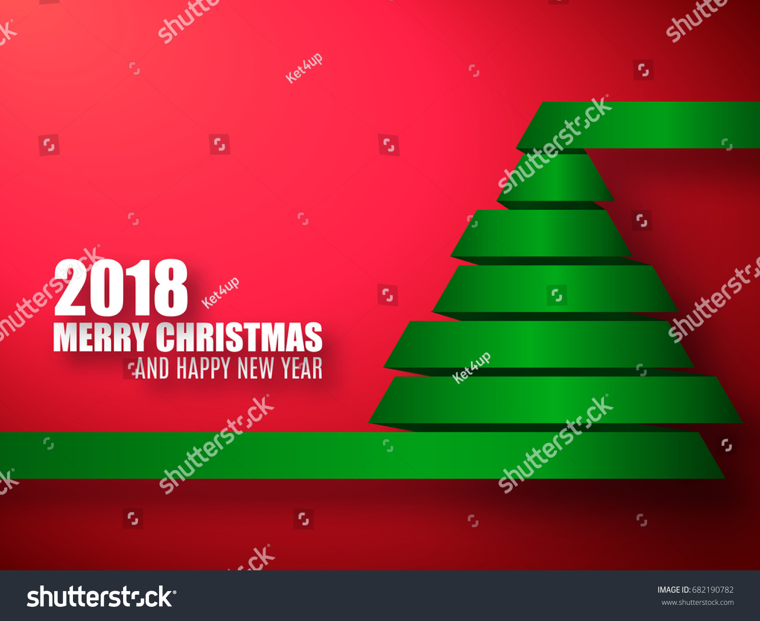 2018 vector template merry christmas and happy new year red background with green 3d xmas